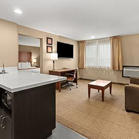 guest suite with living area, wet bar and bedroom